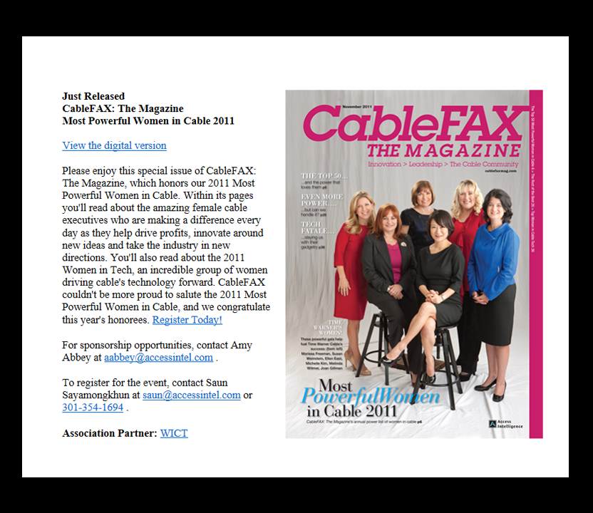 CableFAX Magazine Email Promotion